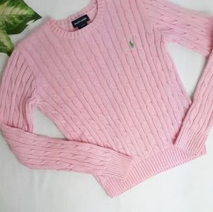 Ralph Lauren Girls Pink Cable Pullover Sweater